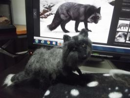 Needle felted -Silver Fox by Tammysoul