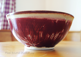 Burgundy Tree Themed Ceramic Bowl by ashynekosan
