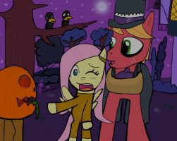 Fluttershy and Big Mac for Nightmare Night by Helsaabi