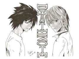L and Raito ,  Death Note by ero-karshi