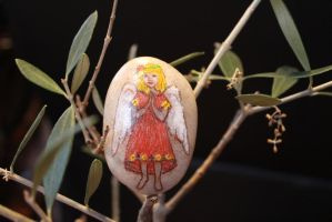 Angel Hand Painted Stone (Etsy) by emmysheartsncrafts