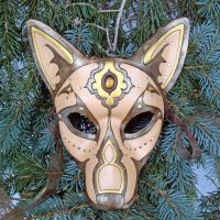 Gold Jeweled Wolf Leather Mask by merimask