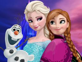 Frozen Elsa Anna and Olaf by Matryxx