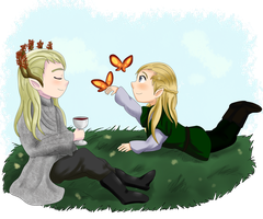 Thranduil and Legolas by ValiChan