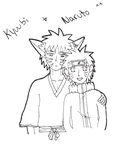 Kyuubi + Naruto Lineart by marmarich