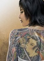 Japanese irezumi tattoo woman by deanhsieh