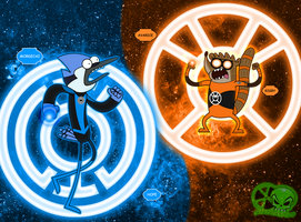Blue Vs Orange: Mordecai and Rigby by skull1045fox
