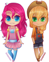 MLP:FIM chibi set [2/3] Pinkie Pie|Applejack by Ringamon