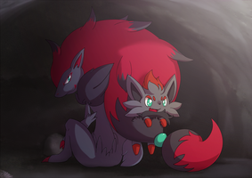 Zoroark and Zorua by Millaii