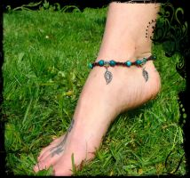 Macrame summer anklet,Chrysocolla and turquoise by noisypixie
