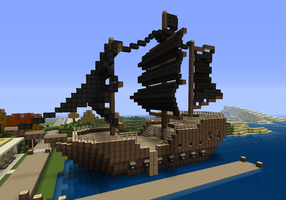 Minecraft Pirate Ship by watermeloons
