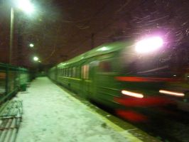 Night train and snow by Vogel12
