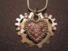 Gear Heart Necklace by thefxfox
