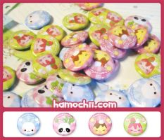 Hamochii badges by snowbunnyluv