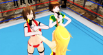 [MMD WRESTLING]Throatlift  on Meiko and Chie[Gif] by tousato