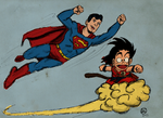 Superboy and Goku by MrOfir