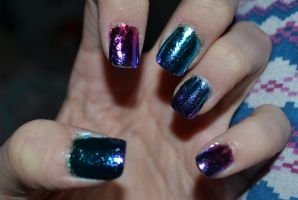 Multi Coloured Foil Nails on Acrylics by Bexiieeee