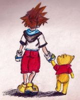 Sora and Pooh by owlhead20