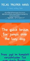 Picas Proper Hand - A hand writing font by pica-ae