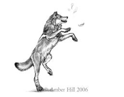 Wolf, Wind, Leaves by vantid
