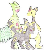 Sceptile, Ampharos and Umbreon by EV70