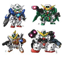 SD Gundam 00 Group by Nidaram