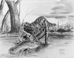 African Angler-Suchomimus And Mawsonia by Franz-Josef73