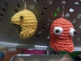 Pacman and Ghost Earring Pair by gardensofmay