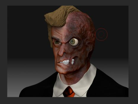 Two-Face bust - WIP by StoobyToons