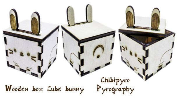 Wooden Cube Bunny Box by ChibiPyro