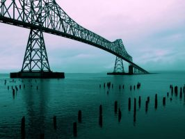 Astoria Bridge cross-process by MFDonovan