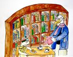 Tea in the library by jina445