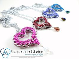 Crystal Heart Pendants by SerenityinChains