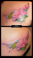 Colibri with magnolia flowers by grimmy3d