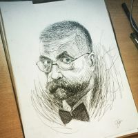 Portrait of Lithuania's artist Vytautas Kernagis by fantoNN