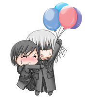 Chibis Riku and Xion with Balloons by EnzanBlues456