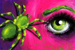 Neon Pink and a Tarantula by Bunny--Vomit