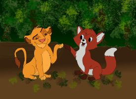 Tod and Simba color bg by Hiddenwithinthunder