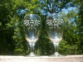 LoZ Royal-Hylian Crest Ice Tea Glasses by ZombieBunnySlaya