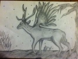 Stag with wing - with background by b24beanz