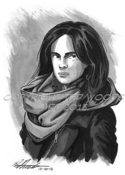 INKtober 2015 Day 21: Jessica Jones by tedwoodsart