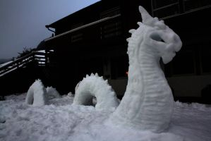 Midgardsormen snow sculpture by Sunima