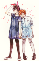 KageHina in my clothes by b-snippet