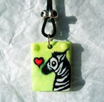 I Love Zebras pendant by MaryBunnie