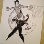 Commission - Night Girl and Cosmic Boy by tyrannus