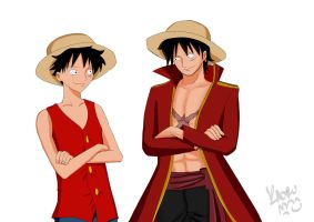 Luffy Pirate-king-vs-pirate-boy - by Kaoru-Himura-chan