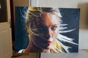 maria sharapova oil painting Thousands of line by ahmetbroge
