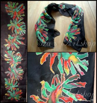 Silk Scarf with a Floral Motif by izasartshop