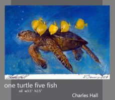 one turtle five fish by charles-hall