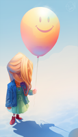 Sad Balloon Girl by dizzyclown